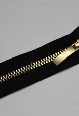 YKK Metaalrits zwart met gouden tanden en schuiver 60cm