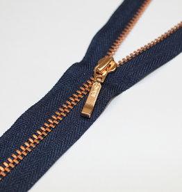YKK Fijne spiraalrits marine met metallic roségold 20cm