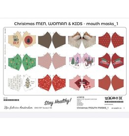 polytex Familiepaneel voor mondmasker 12 modellen : thema Kerst rood!