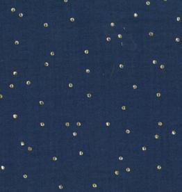 Domotex Double gauze met gouden stippen navy nachtblauw