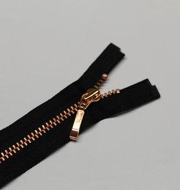 Fijne deelbare rits zwart met metallic roségold 65cm