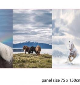 Paneel digital horses (3 panelen op 1 stof)