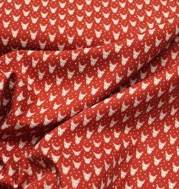 swafing Nordpol rood katoentje met rendiertjes