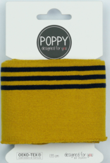 Poppy designed for you Cuff oker met 3 navy lijnen - Poppy