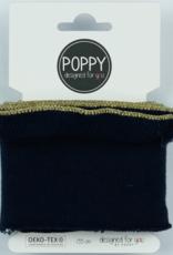 Poppy designed for you Cuff navy met ruffle met gouden bies - Poppy