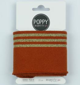 Poppy designed for you Cuff roest met 3 gouden lijnen - Poppy
