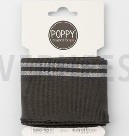 Poppy designed for you Cuff antraciet met 2 zilveren strepen - Poppy