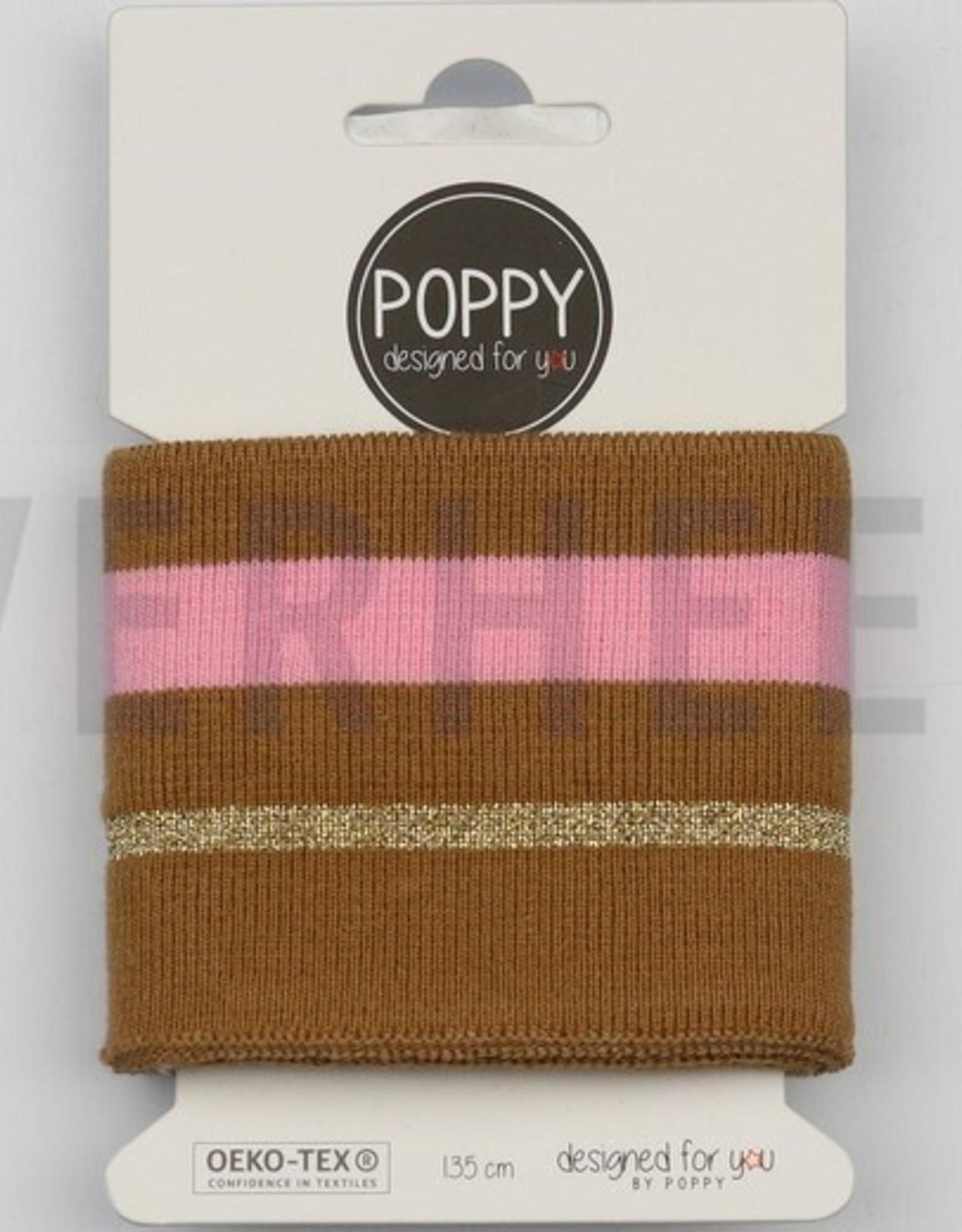 Poppy designed for you Cuff gestreept bruinroest/pink/goud