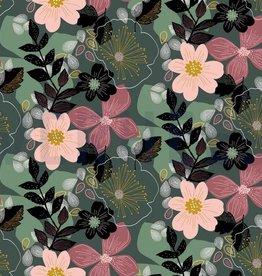 Poppy Soft sweat digital flowers floral green