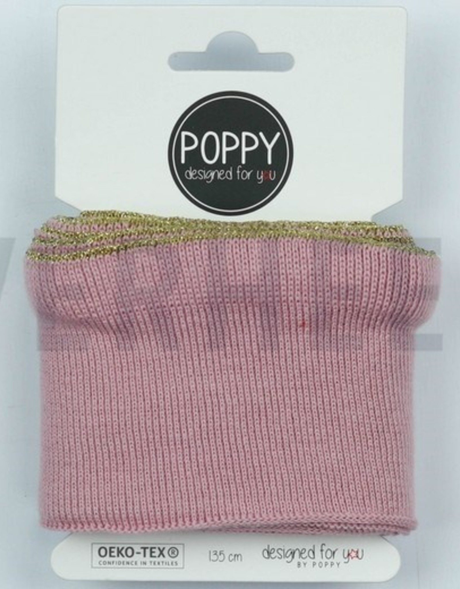 Poppy designed for you Cuff oudrose met ruffle met gouden bies - Poppy