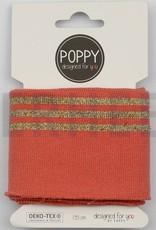 Poppy designed for you Cuff perzik met 3 gouden strepen - Poppy