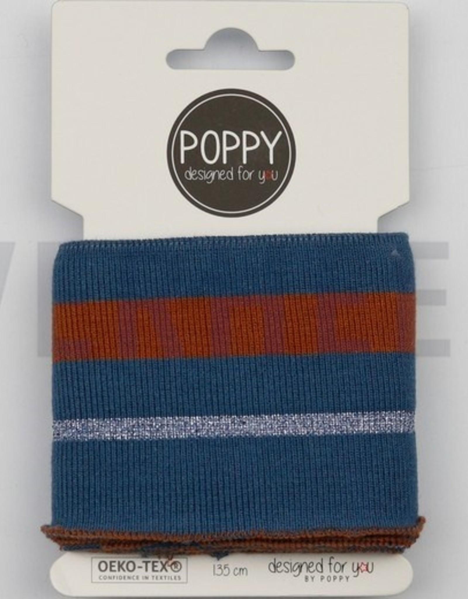 Poppy designed for you Cuff oudblauw met roest en lurexblauwe streep - Poppy
