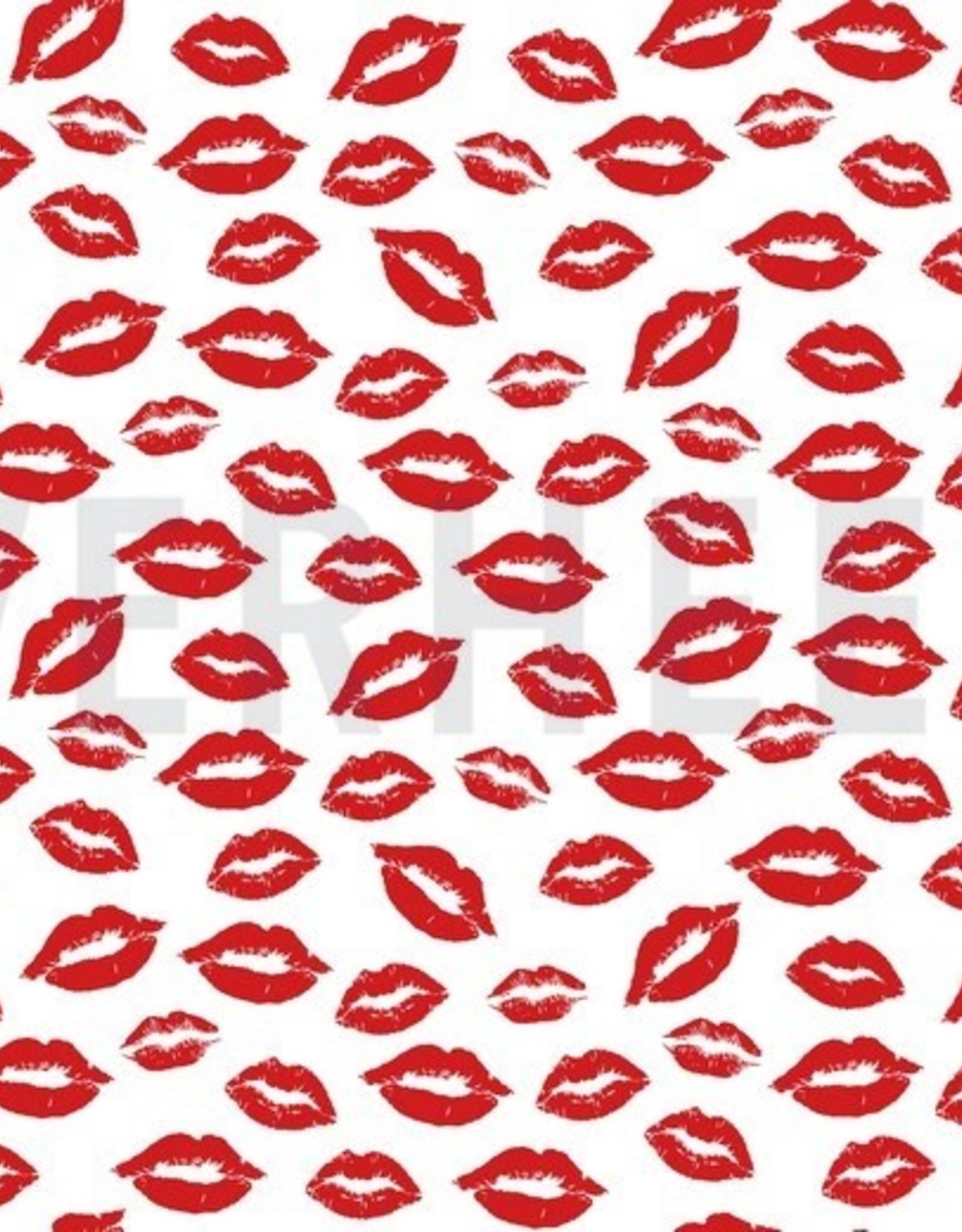Poppy Poplin Kisses for you! white
