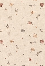 Nooteboom Deco canvas linnenlook libellen gebroken wit