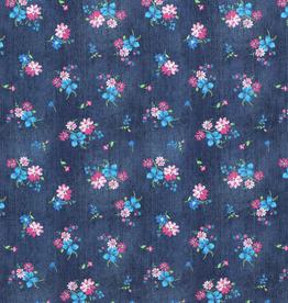 Coupon 30x140 Tricot jeans darkblue met bloemen