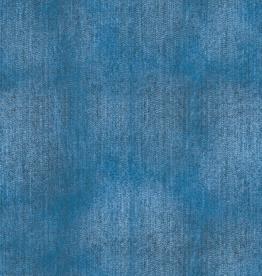 French terry jeansprint medium blue denim