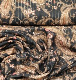 A La Ville Haute Couture Paisley in zalmkleur zwarte viscose met lurex gouden lijnen