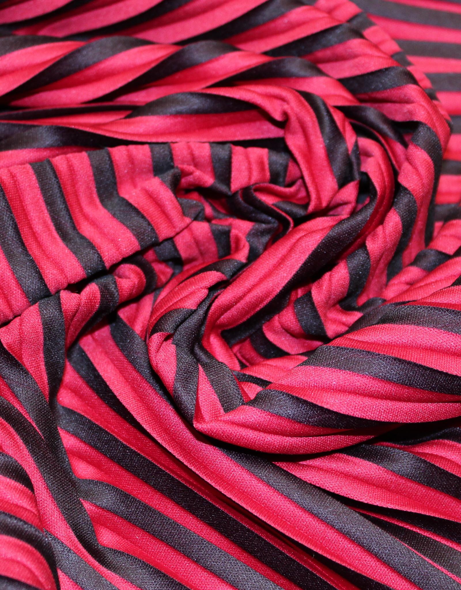 A La Ville Haute Couture coupon Plissée rood/zwart 120x160cm