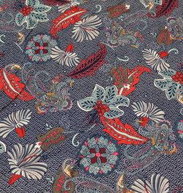 A La Ville Haute Couture COUPON Viscosetricot paisley flowers jeansblauw 60x145cm