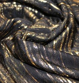 A La Ville Haute Couture Tricot zwart met golvend gouden lijnen