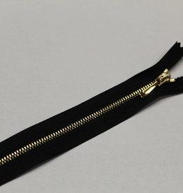 Sierrits zeer fijn zwart met gouden tandjes en sierslot 20cm