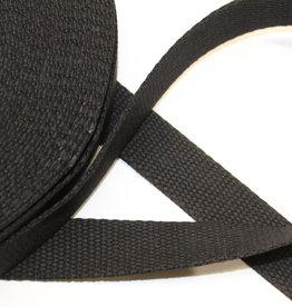 Tassenband katoen 25mm zwart