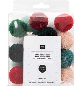 Rico Design Pompon set Christmas rood/groen - 24stuks