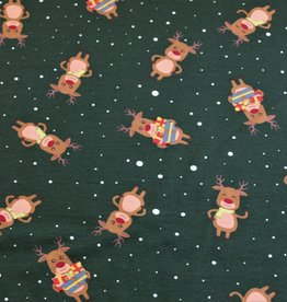 COUPON Soft Sweat rendier groen - ready for Christmas 90x155cm