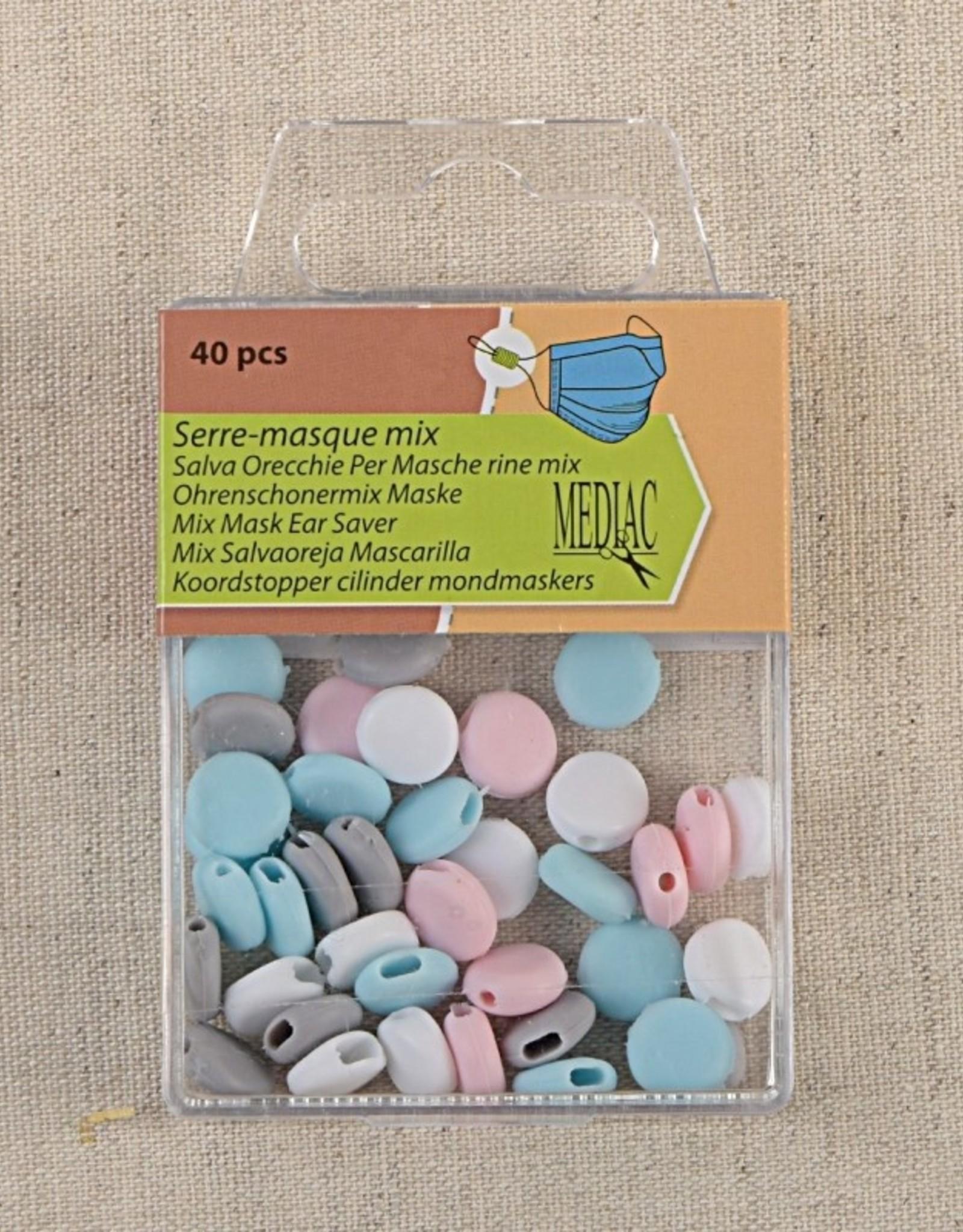 Pakket koordstoppers voor mondmasker elastiek pastelset