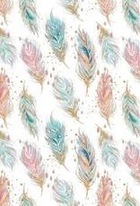 Poppy Sweat GOTS digital feathers pastel wit