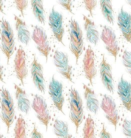 Poppy Sweat GOTS digital feathers pastel wit