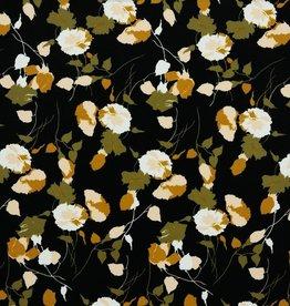 Poppy Pearl Peach zwart khaki gebloemd