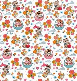 Poppy Jersey GOTS digital print Kittens in Baskets wit - Fiona Hewitt