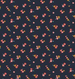 Poppy Jersey GOTS lovely flowers navy
