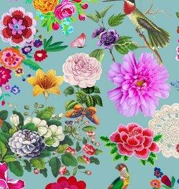 Poppy Coupon 50 x 170 Jersey GOTS digital print Botanica lichtblauw