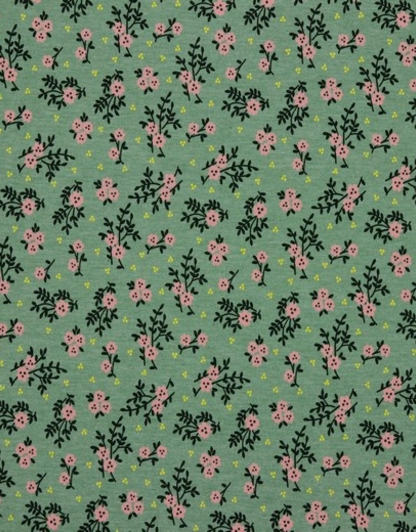 Poppy Jersey pink flowers darkmint*