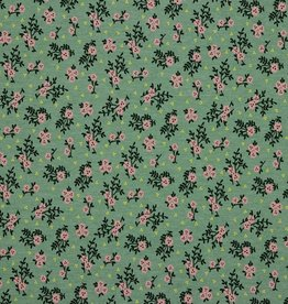 Poppy Jersey pink flowers darkmint*