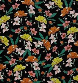 Poppy Viscose met stretch Zwart Rosella met lentebloemen