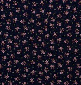 Poppy Double Gauze navy fijn roze gebloemd
