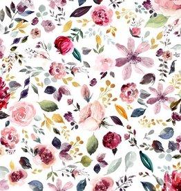 Poppy Jersey GOTS digital print Painted Flowers Wit
