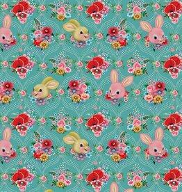 Poppy Jersey GOTS digital print Happy Bunnies teal - Fiona Hewitt