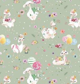 Poppy Jersey GOTS digital print Alpaca Garden mint