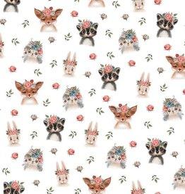 Poppy Jersey GOTS digital print Woodland Animals wit