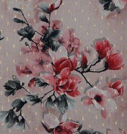 Poppy Chiffon roos met grote bloemen én gouden accent