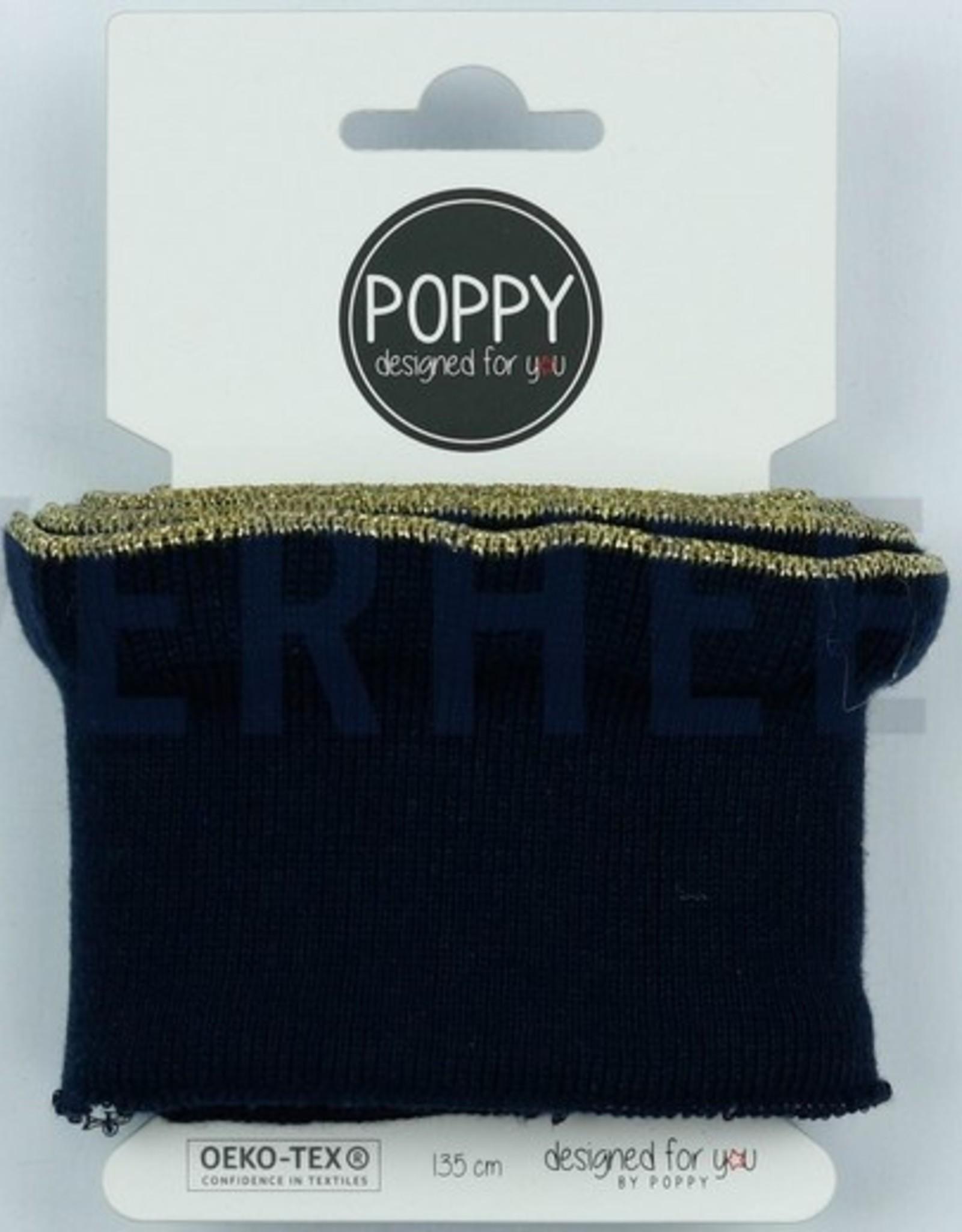 Poppy designed for you Cuff zwart met ruffle met gouden bies - Poppy