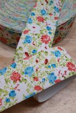 Sierelastiek wit met fijne blauwe & roze bloemetjes 4cm