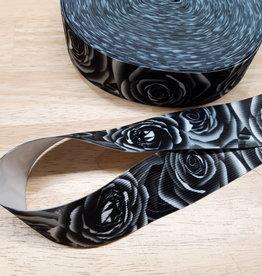 Sierelastiek met rozenprint zwart/wit 4cm