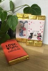 Chocoladereep met Valentijnlabel *naar keuze