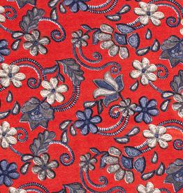 Viscosejersey rood met kriskras bloemen blauw/beige