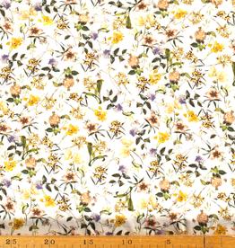 Viscose stof digitaal bedrukt met bloemen in de kleur gebroken wit.